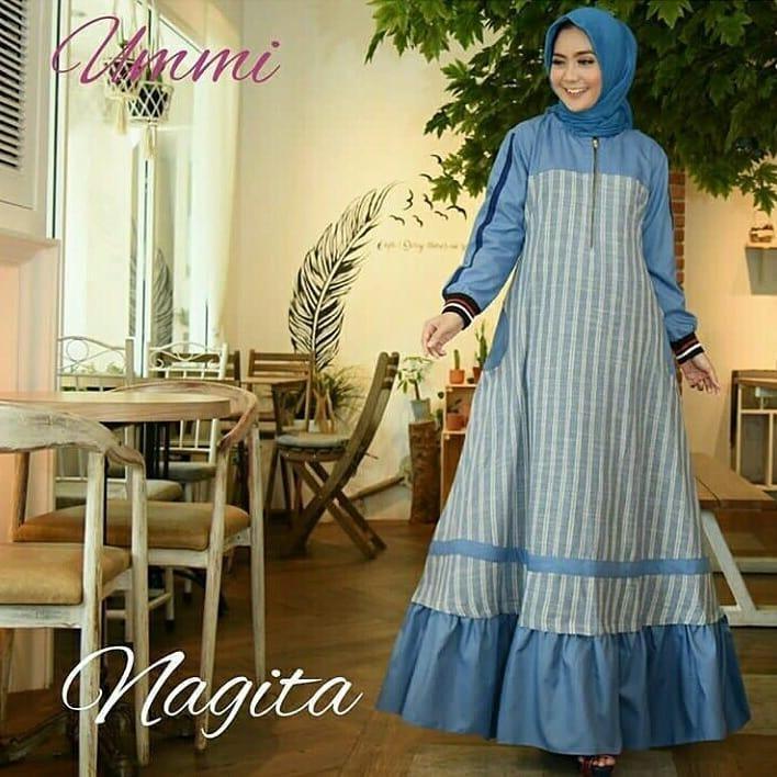 Baju Original Nagita #2 Dress Balotely Gamis Muslim Modern Maxy Gaun Rok Panjang Wanita Muslimah Simple Trend 2018