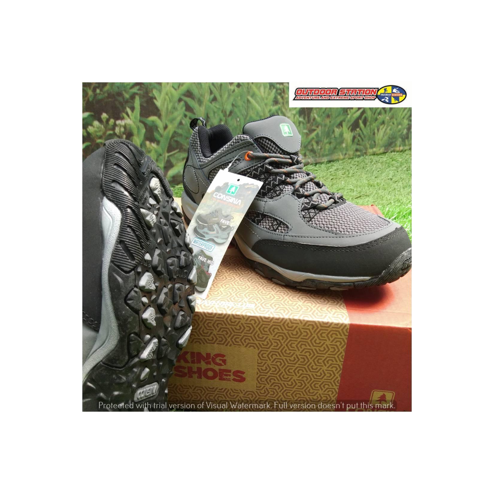 Sepatu Gunung Consina Pave Low Grey/Black Trekking Shoes