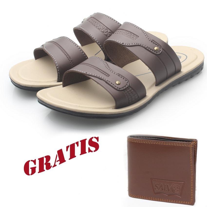 Kaiko / RK Shoes / fashion pria / sandal / sandal flat / sandal pria / sandal gunung / sendal / sendal pria / sendal gunung / sandal kasual pria R2 FREE sompet SV46 coklat