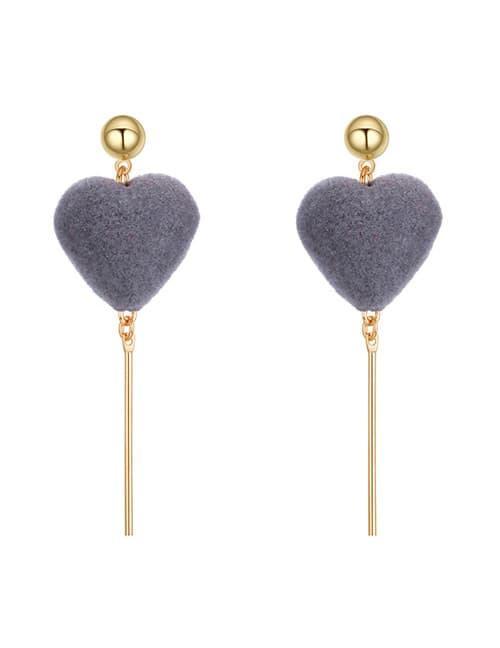 LRC Anting Tusuk Fashion Long Tassel Decorated Pure Color Earrings. Source · KE59235 Anting Gray Heart Gold Stick - Fashion Wanita Keren - Fashion Wanita ...