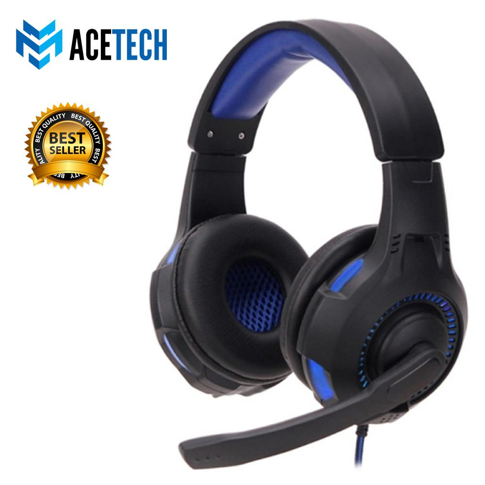 Acetech Headset Headphone Gaming LED With Mic Stereo Bass Untuk Komputer PC Laptop Games Gladiator