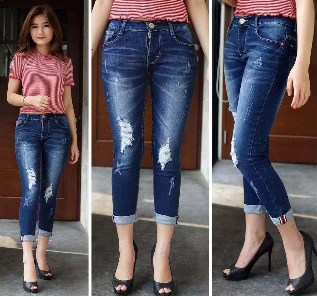 OZY - Jeans Wanita 7/9 Ripped Puring Dalam Model Lipat - Softjeans