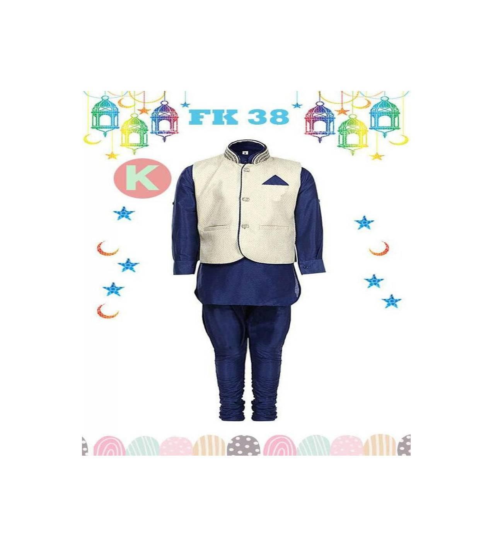 FK 38K Baju Kostum Koko Anak Kecil India Pakistan Lebaran Import Biru