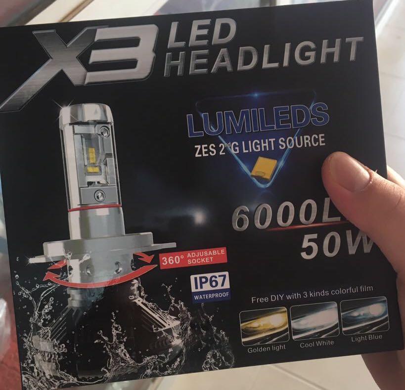2017 2 PC X3 H4 50 W 12000LM Mobil LED Lampu Depan 6500 K Daya Tinggi Putih-Intl