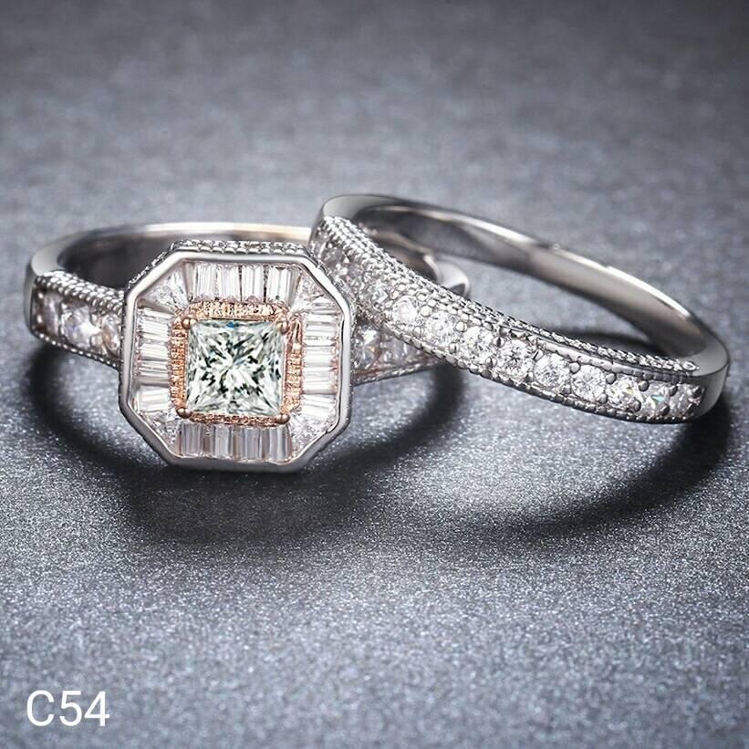NEW Promo Perhiasan Cincin Silver 925 Batu Swarovski Double Ring Murah