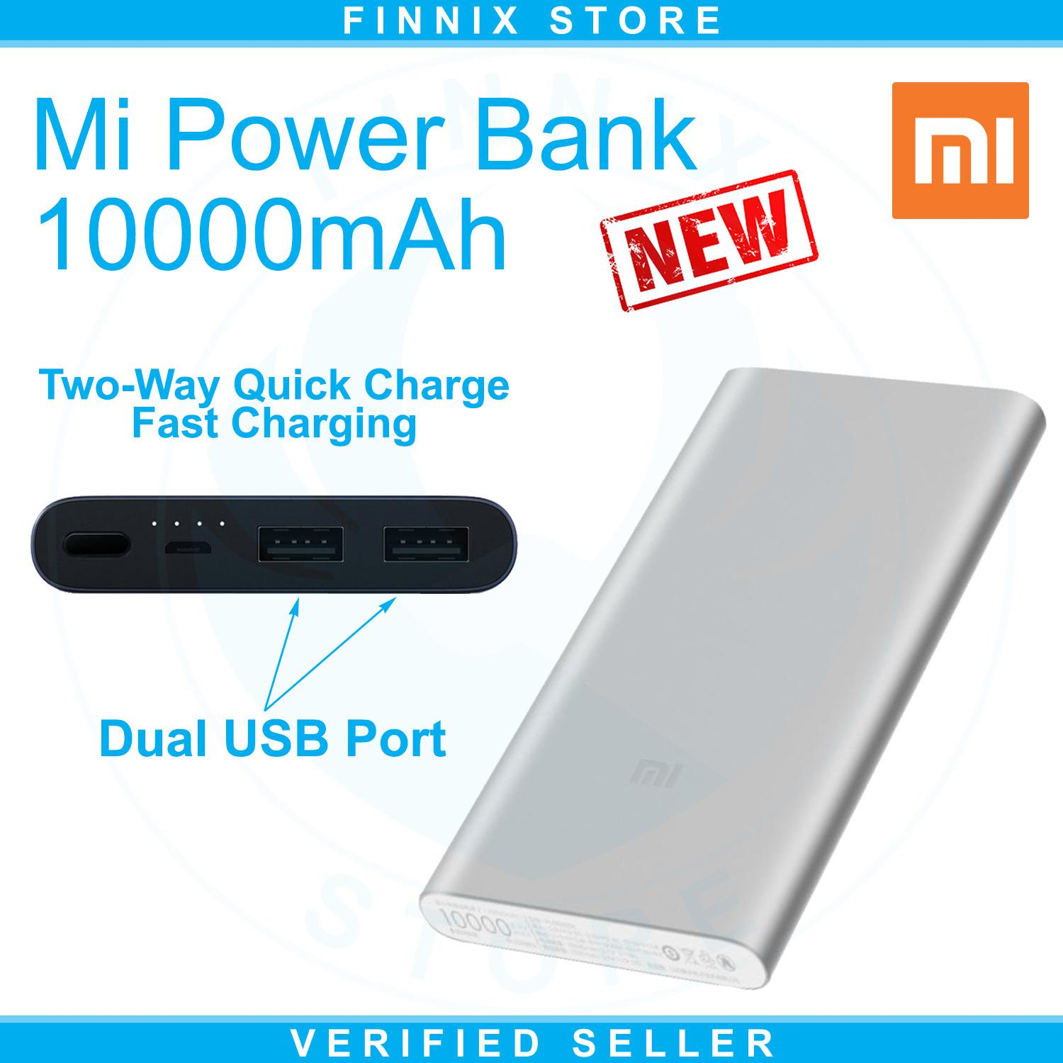 Xiaomi Mi Power Bank 10000mAh Dual USB Port Fast Charging (Powerbank 10000mAh Terbaru Xiaomi Dengan