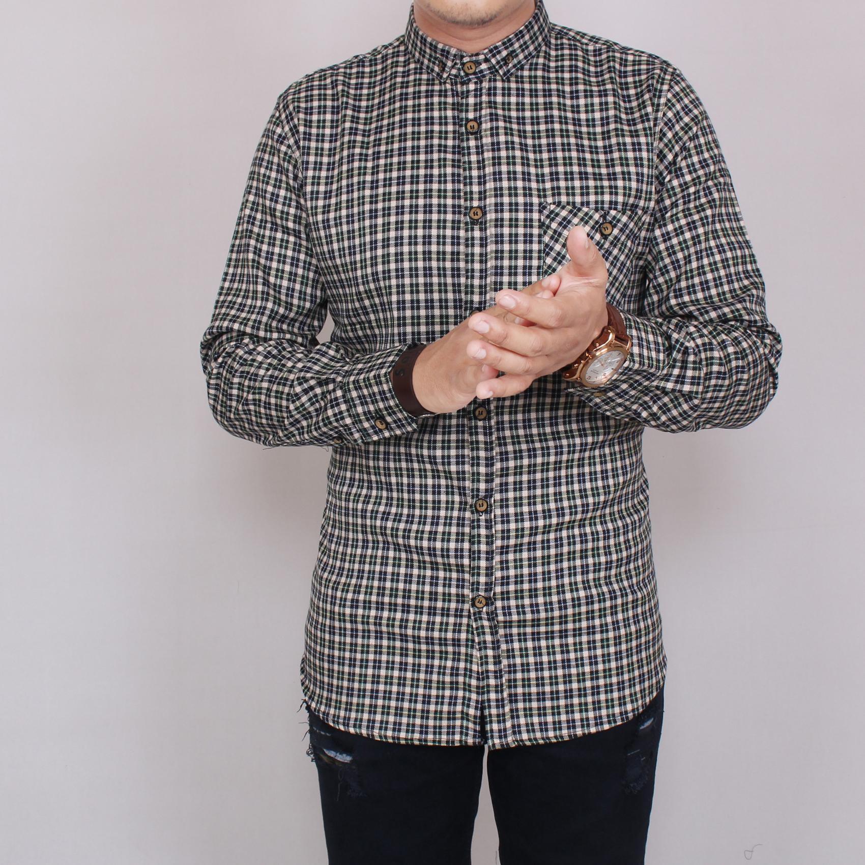Zoeystore 5850 Kemeja Flanel Pria Lengan Pendek Exclusive Baju Kemeja Flannel Cowok Kerja Kantoran Formal Kemeja Distro Putih Kotak Hijau