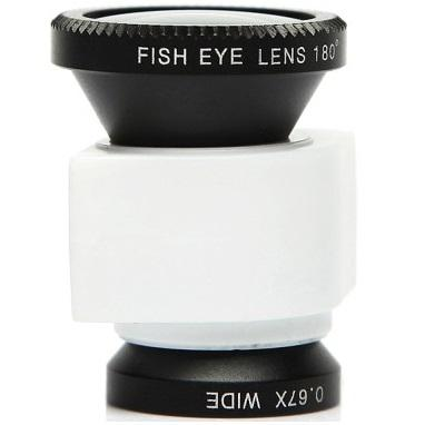 Lesung Lensa Fisheye 3 in 1 Quick Change Camera for iPhone 5/5s/SE - LX-I005 - White