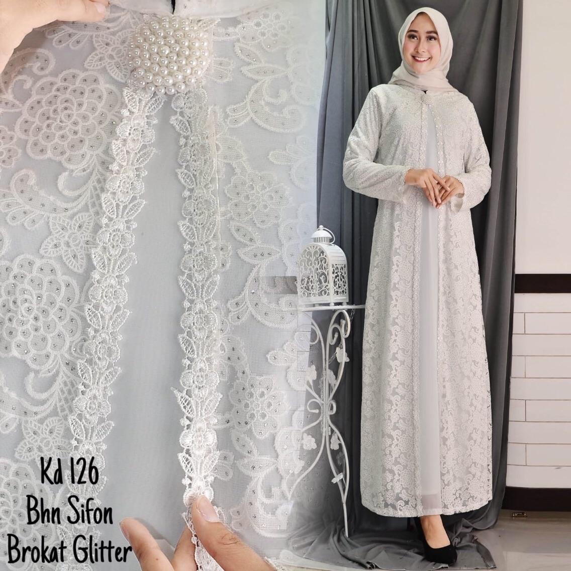 Full Brukat Baju Gamis Putih   Busana Muslim   Baju Muslim Wanita   0ab5285b94