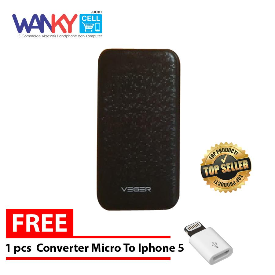 Veger V16 Power Bank 25.000mAh Free Converter Micro to Iphone 5 - Hitam