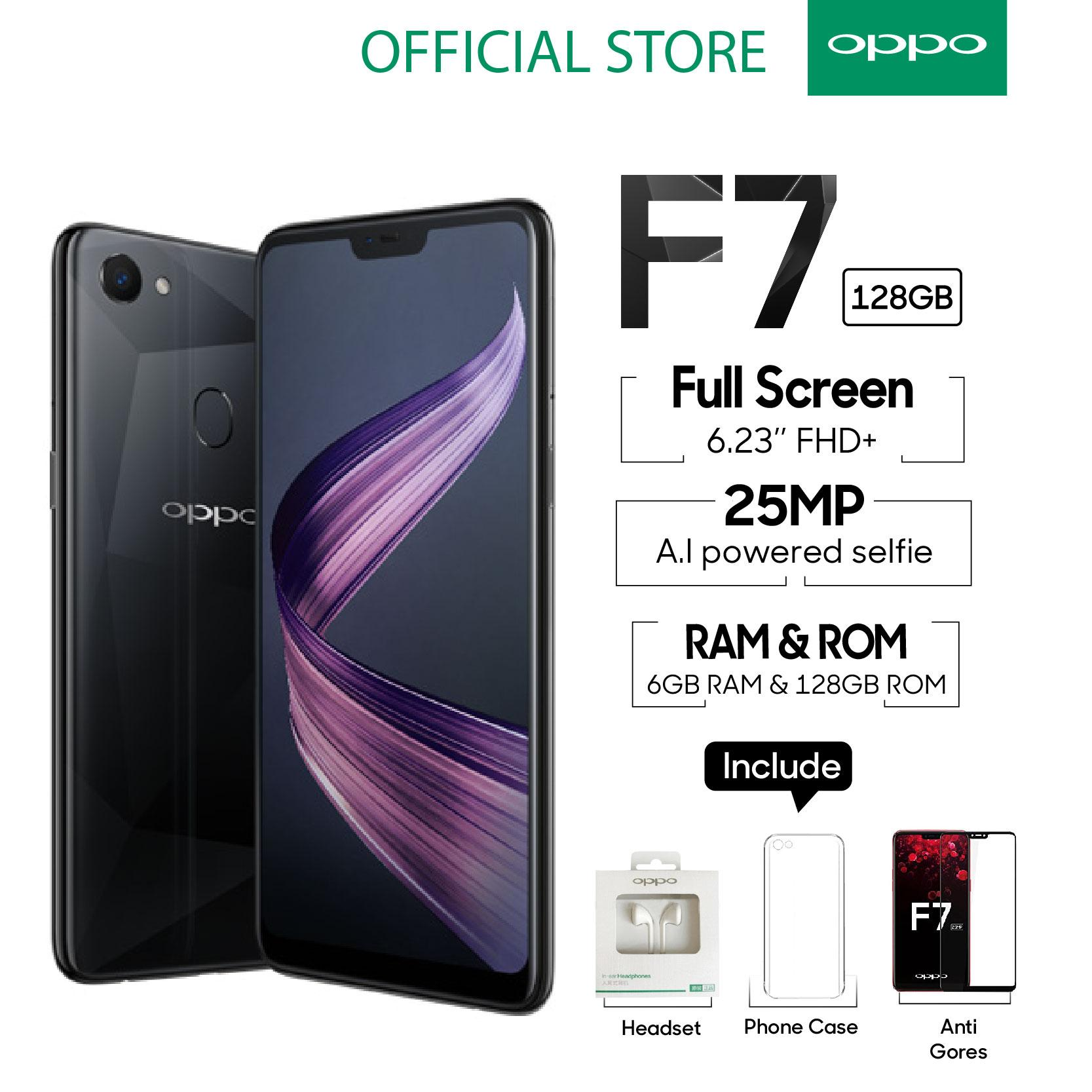 OPPO F7 SMARTPHONE 6GB 128GB Black Al Powered Selfie 25 MP COD