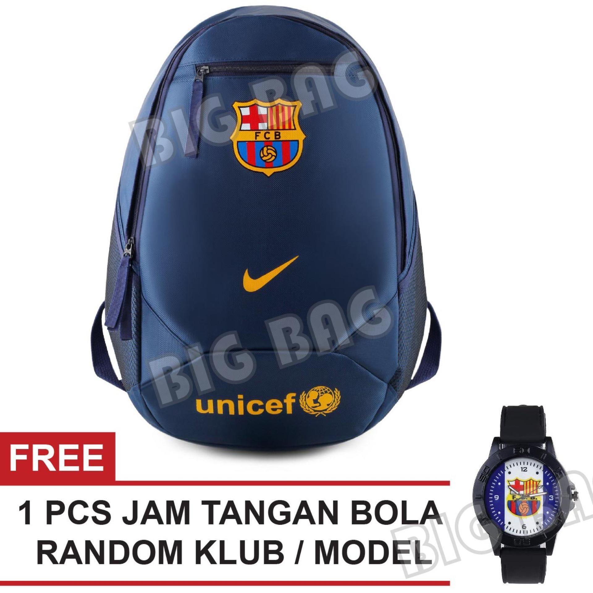 Tas Ransel Nike Bola Pria FC Barcelona - UNICEF Laptop Backpack Men Soccer Editions - Navy + Raincover + FREE Jam Tangan Pria Random Color / Model