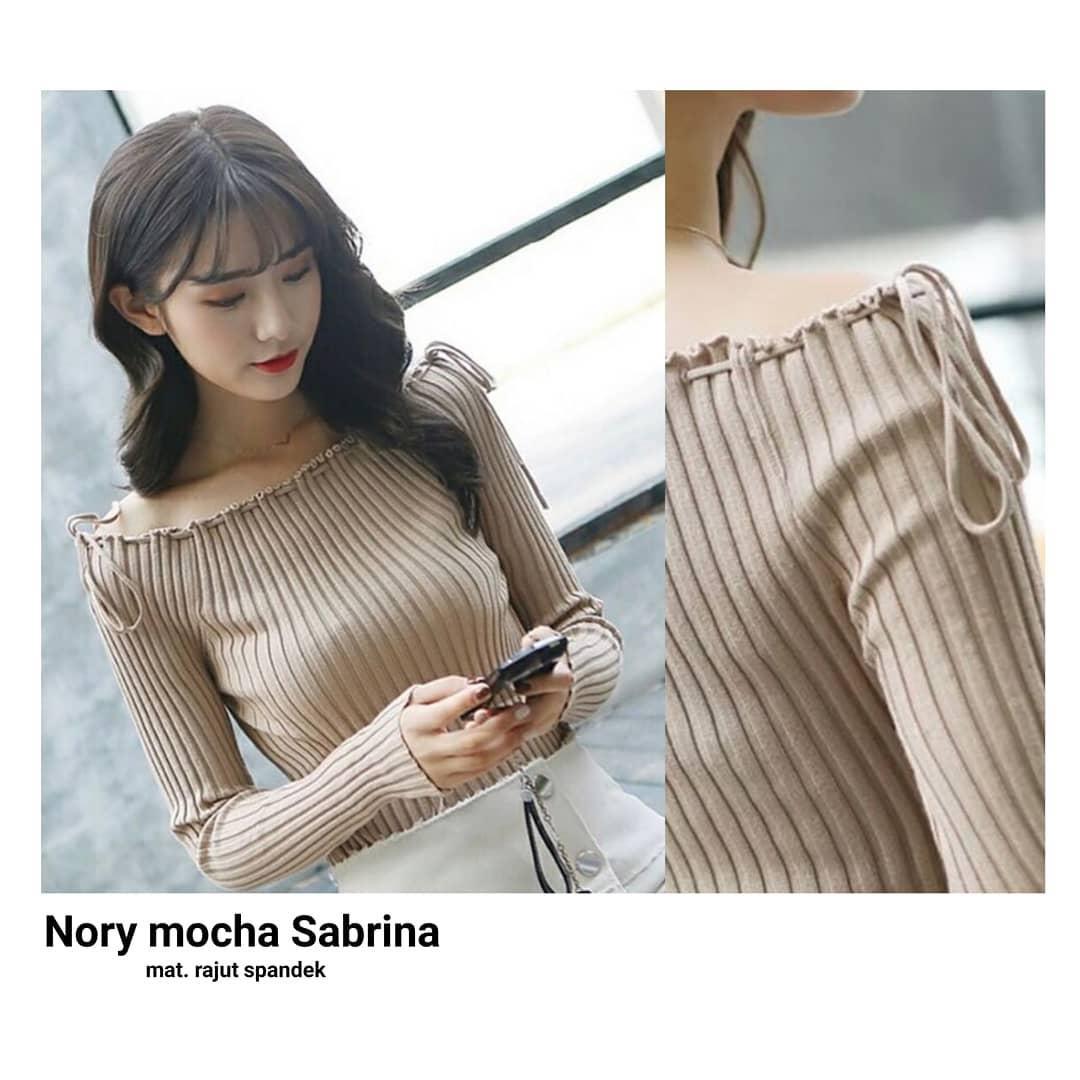 Baju Original Sweater Nory Mocca Sabrina Rajut Spandek Outer Baju Wanita Panjang Cardigan Muslim Pakaian Atasan Hangat Wanita Simple Baju Musim Dingin Casual Modern Trendy Terbaru
