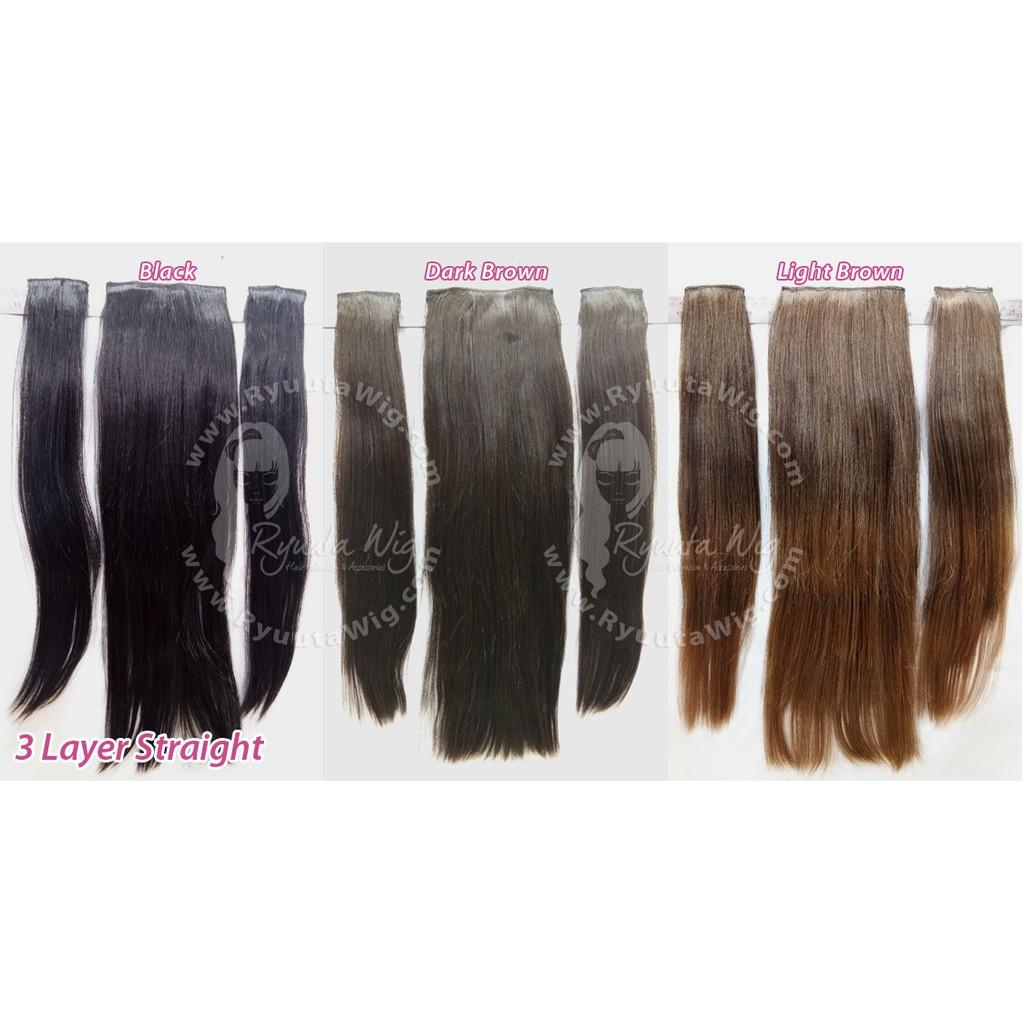 Hair extension clip hairclip 3 pcs layer lurus panjang curly wavy Variasi STRAIGHT Lightbrown