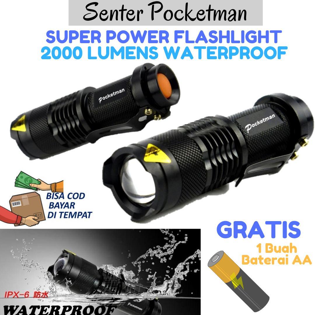 Pocketman Senter LED 2000 Lumens Waterproof / Memiliki Kekuatan 2000 Lumens dan Sangat Terang Tahan Air / Hitam