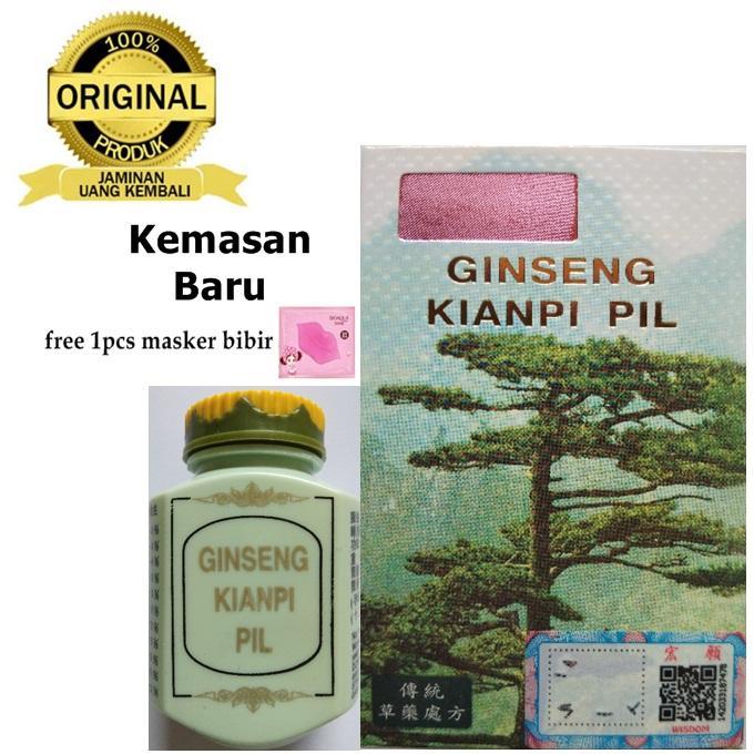 Ginseng Kianpi Pil Wisdom Original (Kemasan Baru) - Obat Penggemuk Badan Alami 60 Kapsul + Free Masker Bibir