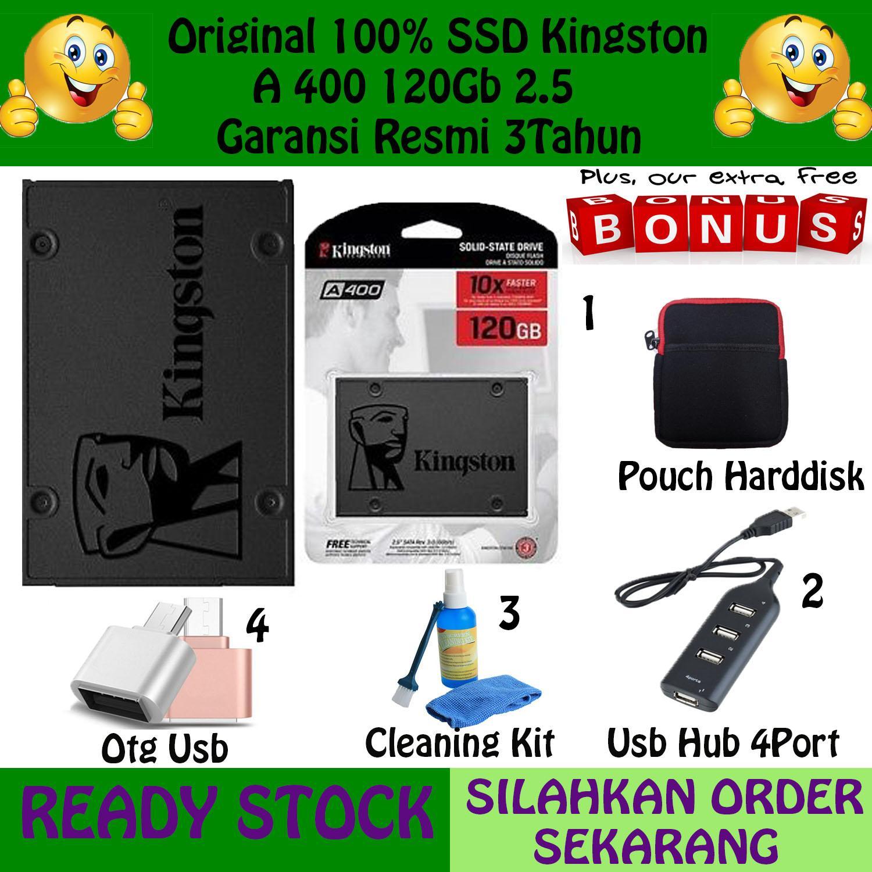 Kingston SSD A400 120GB Sata 2.5'' Gratis Pouch Harddisk +Usb Hub 4Port + Otg Usb + Reader 2in 1