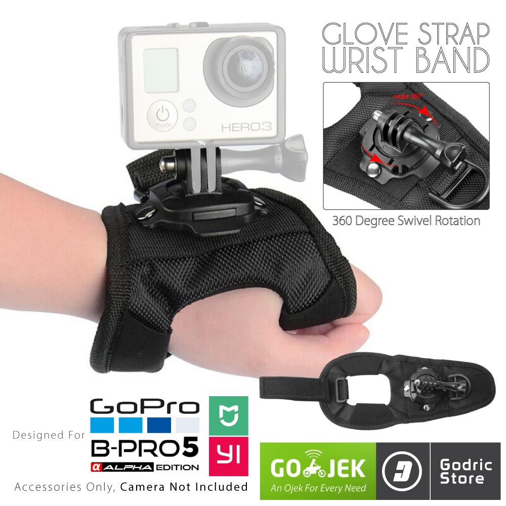 Gopro Action Cam 360 Glove Hand Strap For Gopro, Brica B-Pro & Xiaomi Yi By Godric Store.