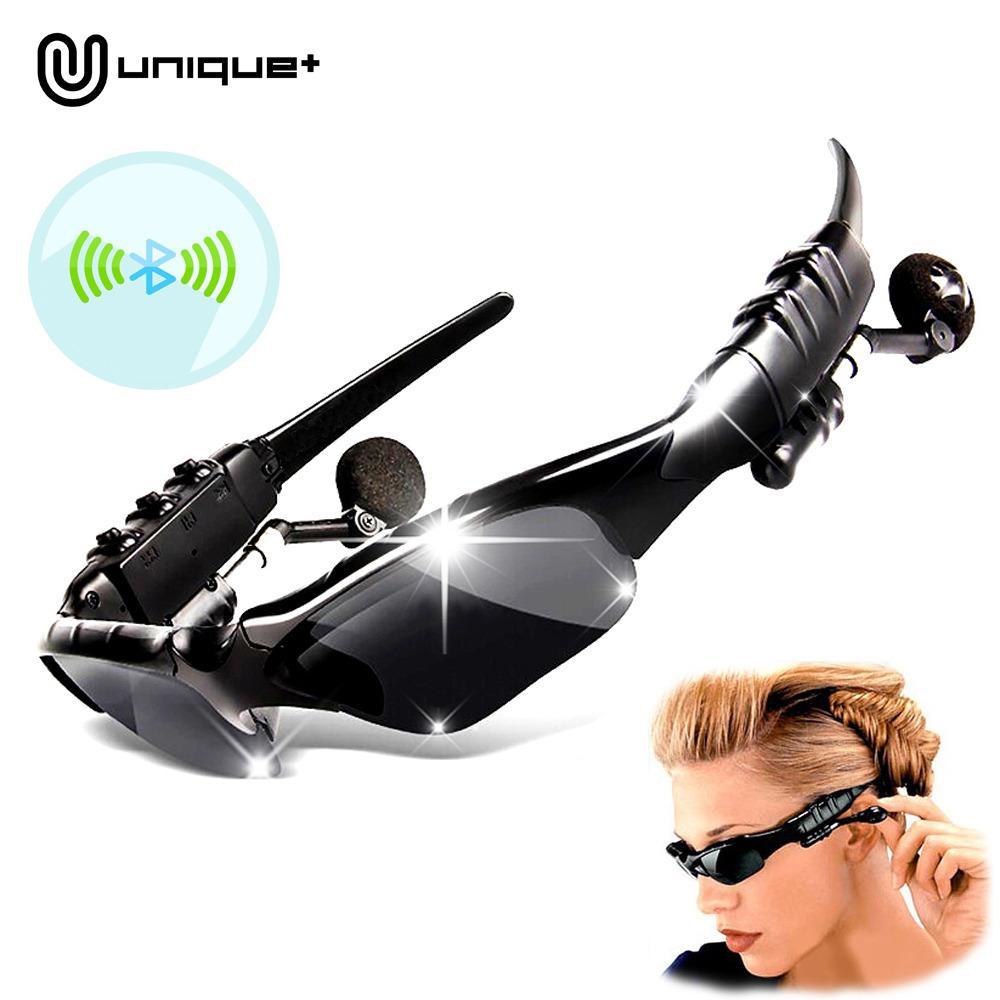 Unique Stereo Wireless Bluetooth Headset Earphone Sunglasses Kacamata MP3 - Hitam