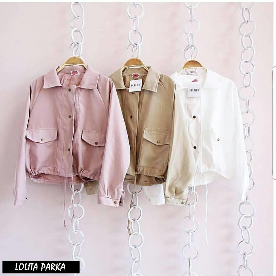 LOLITA PARKA ||| nouska shop ||| Grosir Jaket Sweater Baju Atasan Blouse Rajut Hijab Terbaru Kekinian Cewek Wanita Murah