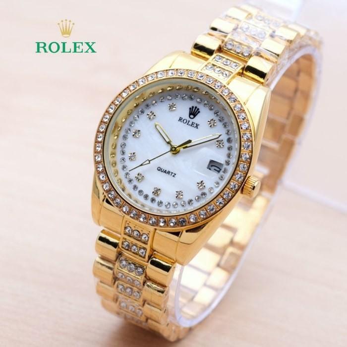 Jam Tangan Wanita / Cewek Rolex SK1228 Rantai Gold