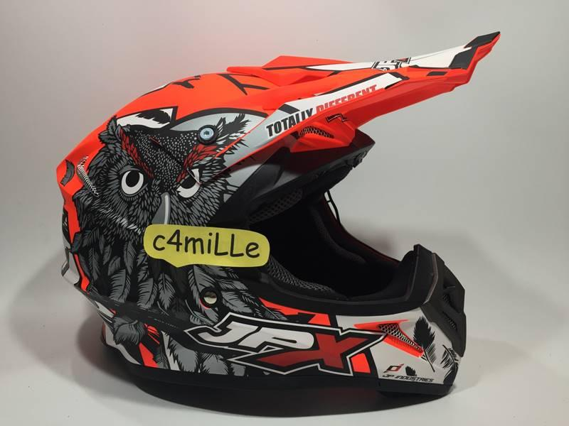 HELM JPX CROSS OWL X13 RED FLUO DOP TRAIL SUPER CROSS