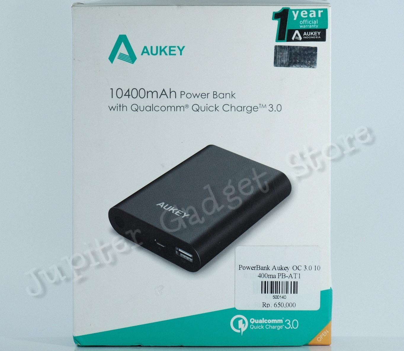 Aukey PB-AT1 Powerbank - Hitam [10400 mAh/ Qualcomm QC 3.0]