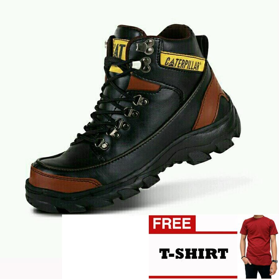 Sepatu Caterpillar Pria Safety Boots Black