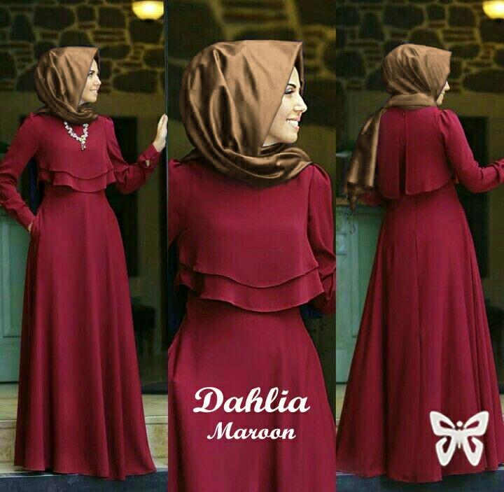 UC Baju Gamis Muslim / Maxi Dress Set 2 in 1 / Gaun Pesta Muslimah / Hijab  Syari Baju Muslim Wanita Syar'i / Gaun Lebaran Tanpa Pasminah SS (hliada) -Maroon