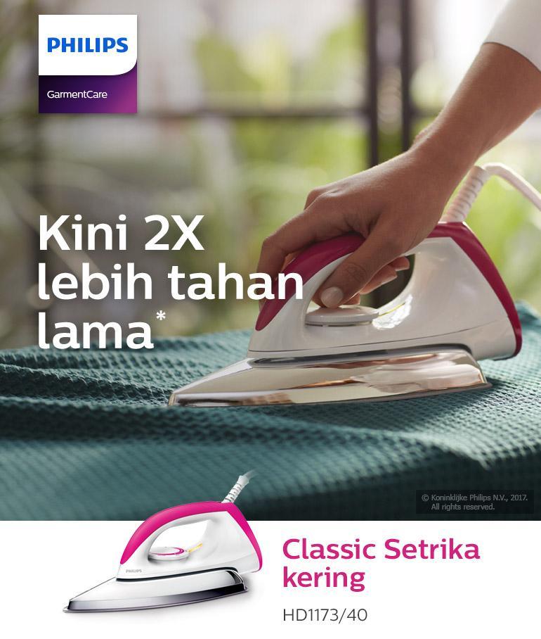 Detail produk dari Philips Setrika HD-1173-40 - Putih-Pink