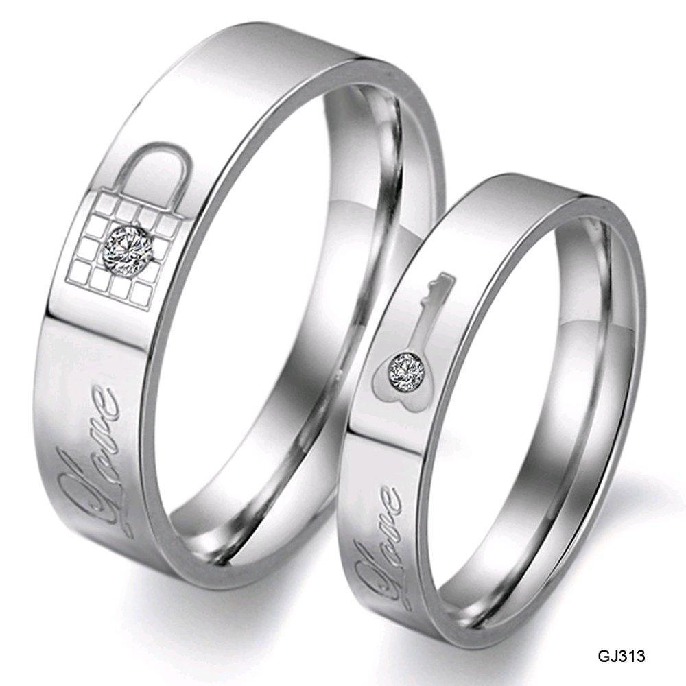 Cincin Couple Gembok Kunci -Bahan Titanium - Xwsrzt