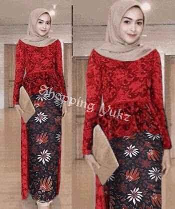 Shopping Yukz Setelan Kebaya Modern dan Rok Batik Wanita FENNY - RED ( Tanpa  pasmina) f1f843e5ae