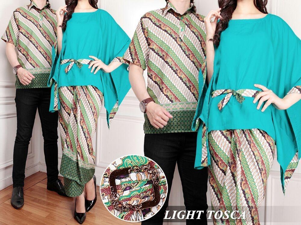 Flavia Store Batik Couple FS0704 - TOSCA / Sarimbit / Baju Pasangan / Sepasang Busana / Kemeja Pria Setelan Kebaya Modern Stelan Wanita / Tzcpmega