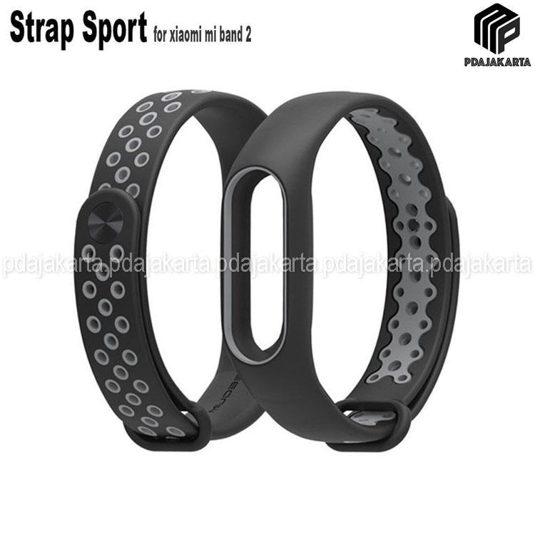Strap Sport Gelang Pengganti Xiaomi Mi Band 2 Oled Display - Black Grey