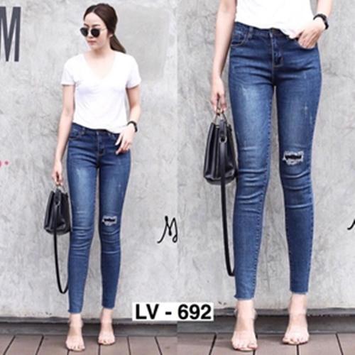 ikainovatv-Jeans Wanita-Jeans Wanita Ripped -Celana Jeans Wanita Ripped Model Terbaru - Celana Jeans wanita Sobek - Basic jeans style m4ngo - Bio Washed - Skinny Jeans
