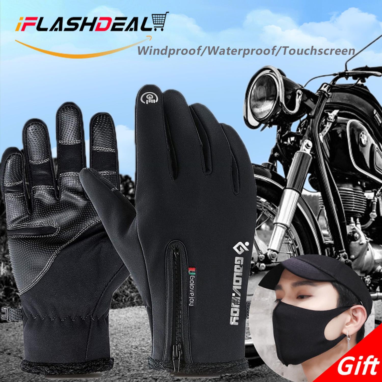 iFlashDeal Sarung tangan motor berkuda, Sarung tangan bersepeda tahan air, Pria wanita musim dingin yang hangat layar sentuh olahraga luar tahan angin sarung tangan Touchscreen dengan masker wajah