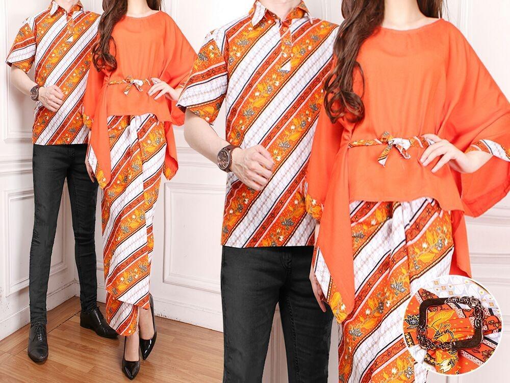 Rp 135.000. Flavia Store Batik Couple FS0702 - ORANGE / Sarimbit / Baju Pasangan / Sepasang Busana / Kemeja Pria ...