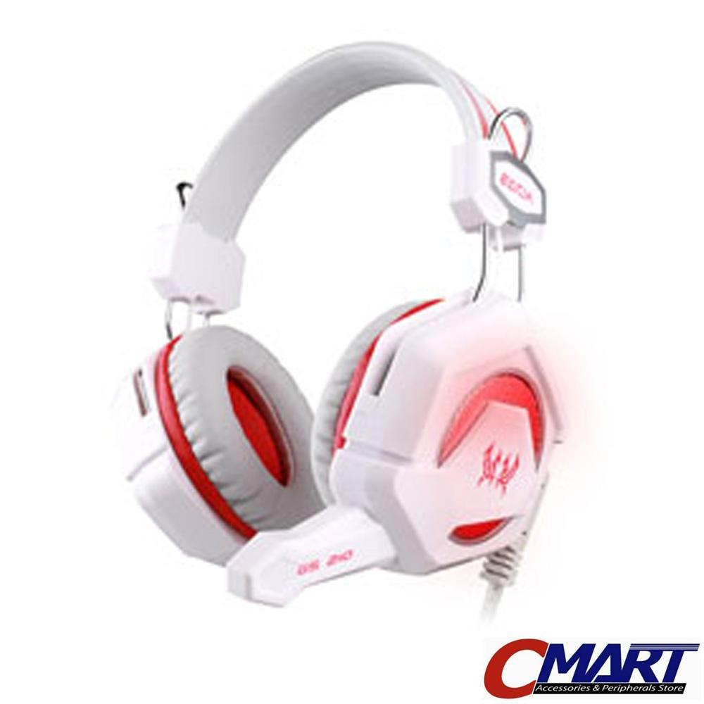 Kotion Headset Gaming Each GS200 with LED Gamers Headphone - WHITE