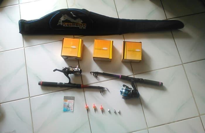 HARGA DISKON!!! paket 1 set isi 3 alat pancing / reel / tas pancing / kail / rod - injLFf