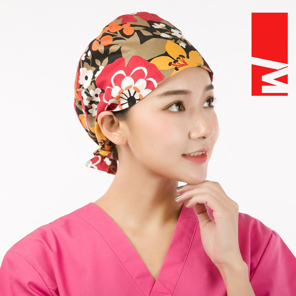 Qiao perawat kapas dicetak biru bunga bernapas topi kerja topi topi topi ( Topi).