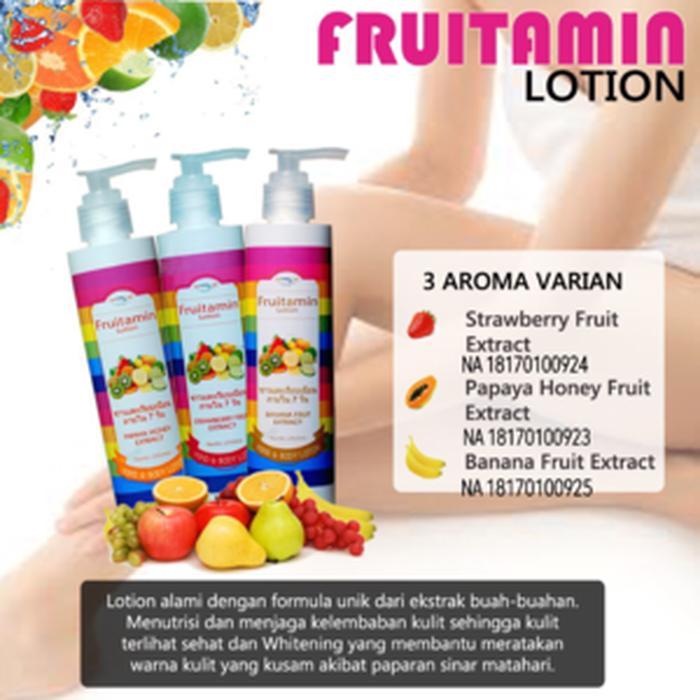 Rp 13.000 [ LOTION FRUITAMIN ] Fruitamin Lotion Original BPOMIDR13000. Rp 13.498. Fruity Sabun Fruitamin 10in1 Rainbow Soap BPOM - 1 PcsIDR13498