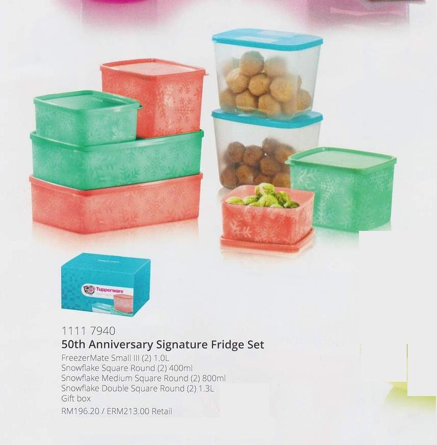 Wadah Makanan di Freezer Murah Tupperware 50th Anniversary Signature Fridge Set