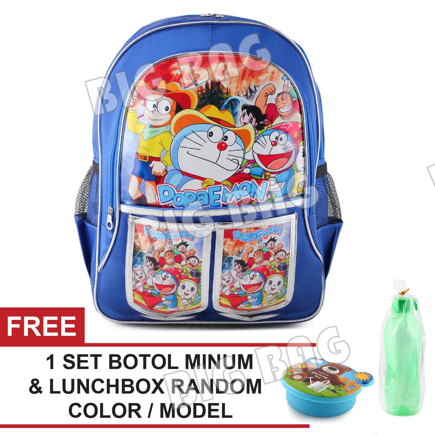 Tas Ransel Anak - Doraemon - Adventure Series - Catch Up - Underworld School Bag Tas Sekolah Anak + FREE Botol Minum Antarthic - BLUE + Lunchbox & Botol Random Color / Model Tas Anak Tas Sekolah Tas Anak Karakter