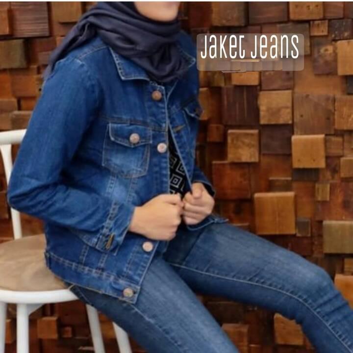 Jaket levis wanita bahan jeans denim size M,L