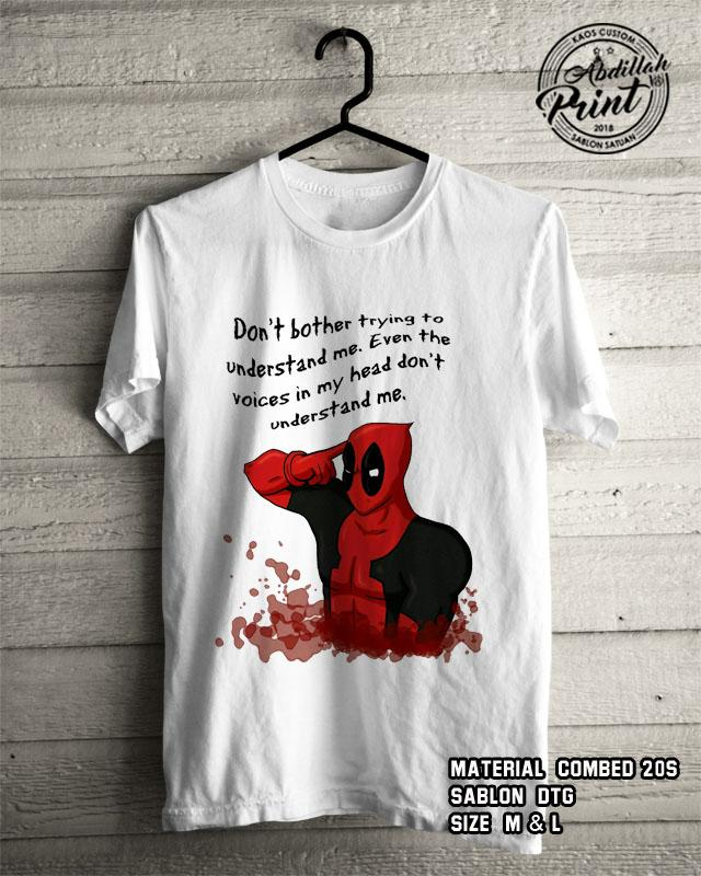 Kaos Distro Custom Design T Shirt Casual Atasan Pria Wanita Cotton Combed 20s Sablon DTG Quality Export - Superhero Marvel Avengers Deadpool5 - White