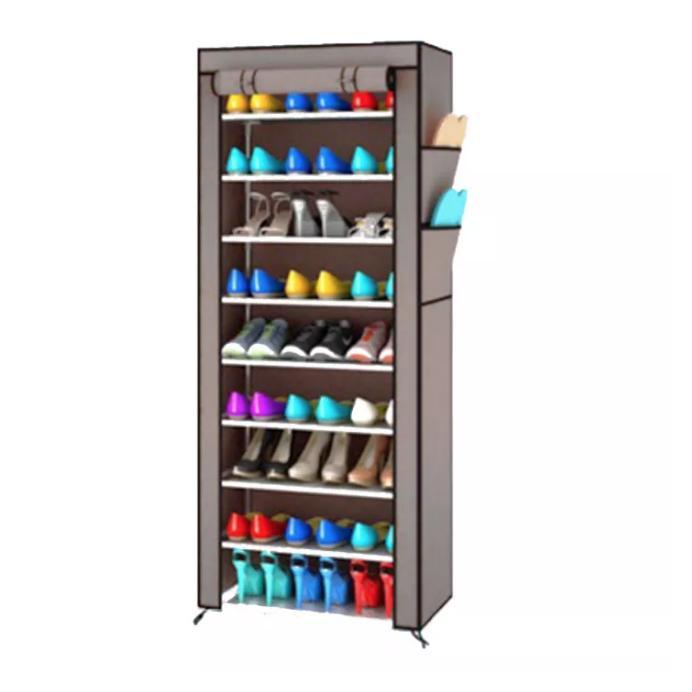 EZY (CUCI GUDANG) Rak Sepatu 10 Susun Dengan Sarung - Abu abu / Grey
