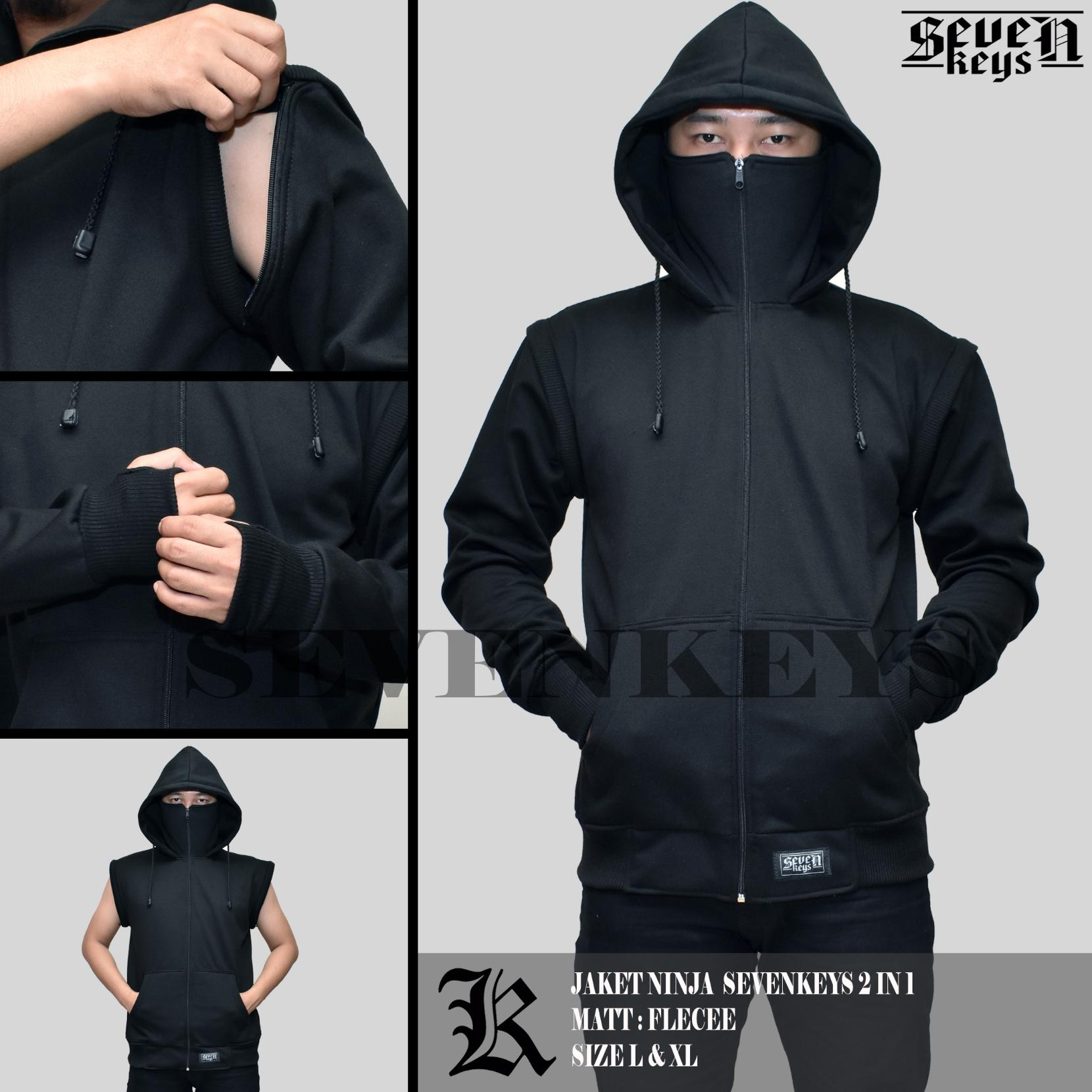Jaket pria ninja seven keys polos original 2 in 1 4add6fff6f
