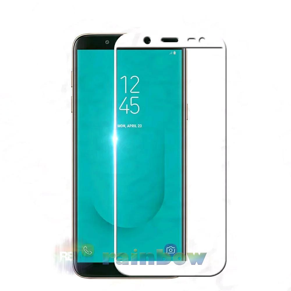 Rainbow Tempered Glass Samsung Galaxy J6 2018 Full Screen Protector Samsung J6 2018 White Temper Samsung J6 2018 / Tempered Glass Full Layar / Pelindung Layar / Anti Gores Kaca Screen Guard / Temper Glass Samsung J6 2018 - Putih