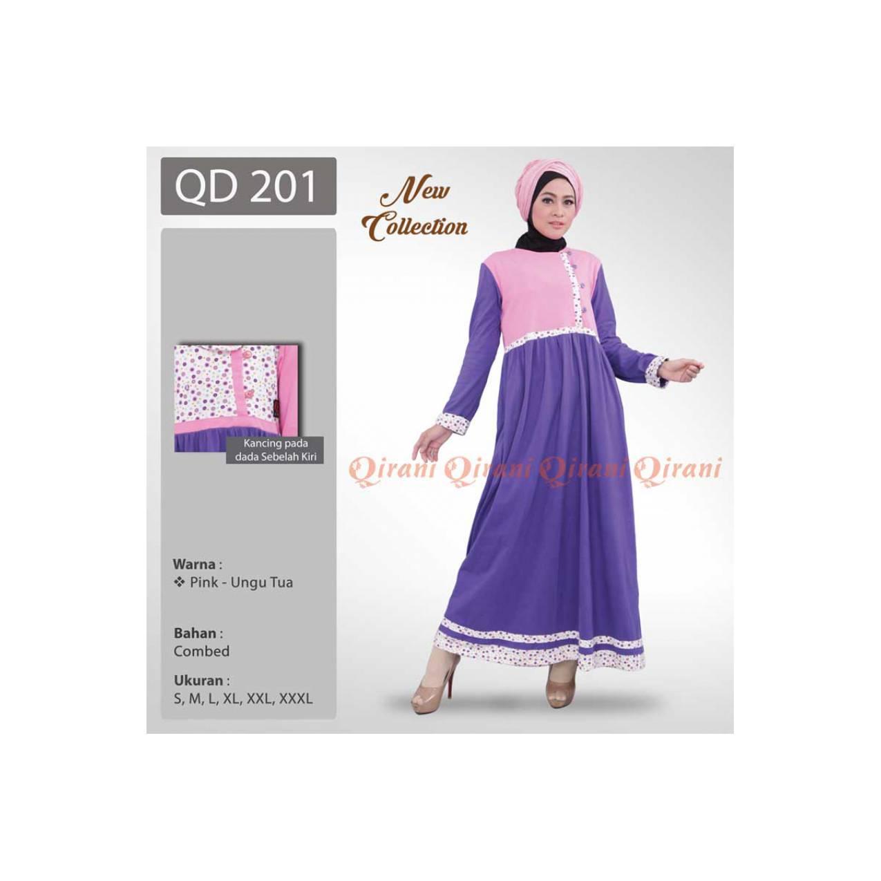 Baju Muslimah Gamis Murah Bahan Kaos QIRANI QD - 201