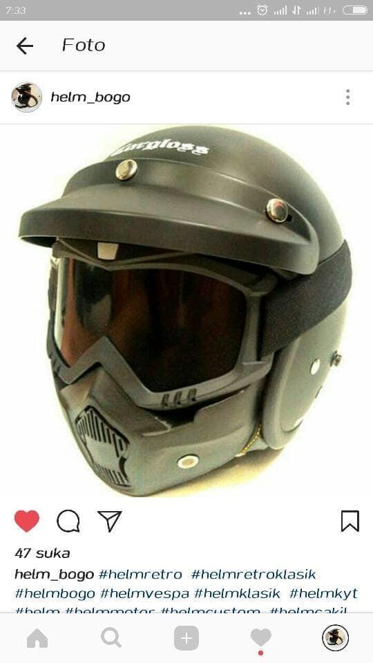 Helm Retro Bogo Cargloss Hitam dof + Goggle Mask Masker Kacamata